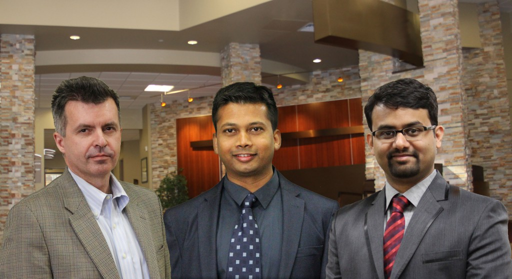 Pictured, left to right, are Southwest Medical Center hospitalists Andrey Ilyasov, M.D.; Rama Chanda, M.D.; and Akshath Kamath, M.D. The hospitalist program launched in April 2014.